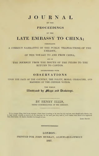 Journal of the Proceedings of the Late Embassy to China (1817)