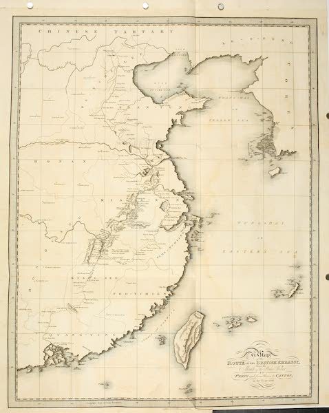 Journal of the Proceedings of the Late Embassy to China - Map of the Route of the British Embassy (1817)