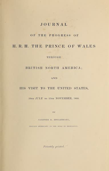Journal of the Progress of H.R.H. the Prince of Wales - Title Page (1860)