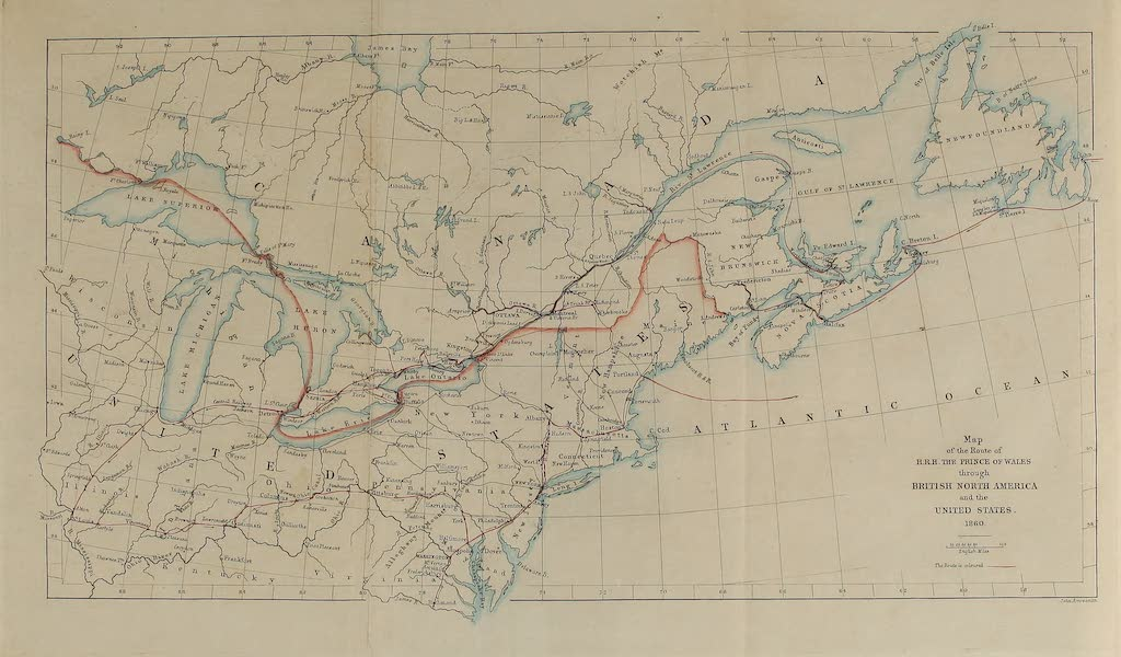 Journal of the Progress of H.R.H. the Prince of Wales - Map of the Route of H.R.H., the Prince of Wales through British North America (1860)
