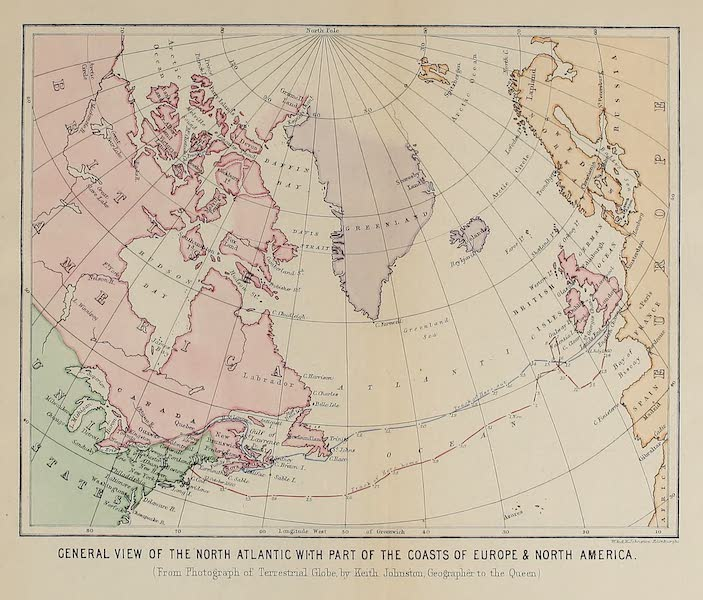 Journal of the Progress of H.R.H. the Prince of Wales - General View of the North Atlantic with Part of the Coasts of Europe and North America (1860)