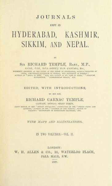 Journals Kept in Hyderabad, Kashmir, Sikkim, and Nepal Vol. 2 - Title Page (1887)