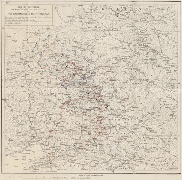 Journals Kept in Hyderabad, Kashmir, Sikkim, and Nepal Vol. 2 - Map of Kashmir to Illustrate Routes (1887)