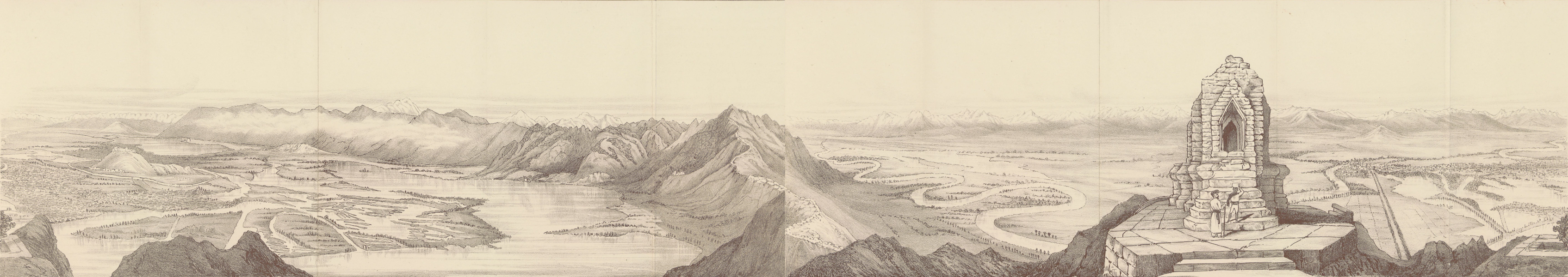 Journals Kept in Hyderabad, Kashmir, Sikkim, and Nepal Vol. 2 - Sketch of the Panorama from the Takht-i-Sulaiman (1887)