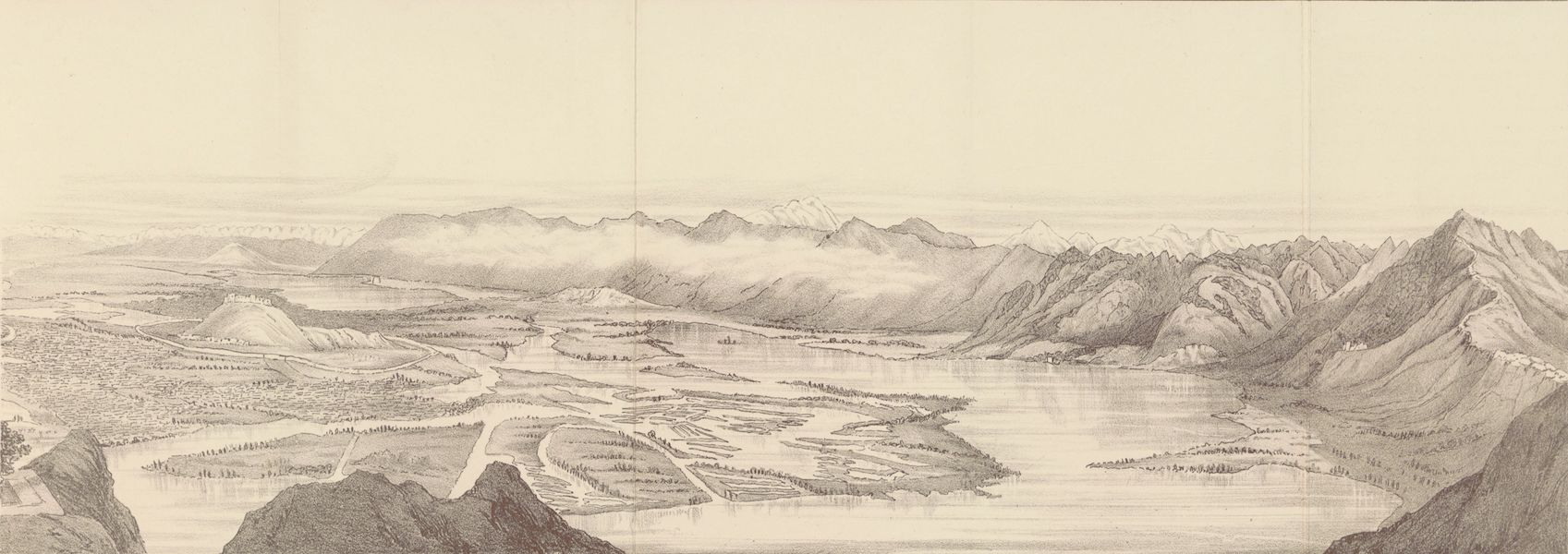 Journals Kept in Hyderabad, Kashmir, Sikkim, and Nepal Vol. 2 - Sketch of the Panorama from the Takht-i-Sulaiman (West-North-East) (1887)