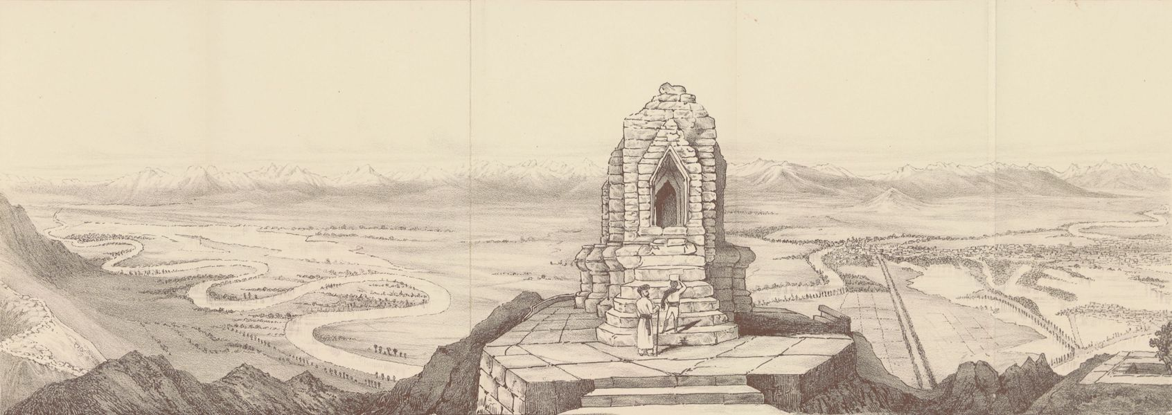 Journals Kept in Hyderabad, Kashmir, Sikkim, and Nepal Vol. 2 - Sketch of the Panorama from the Takht-i-Sulaiman (East-South-West) (1887)
