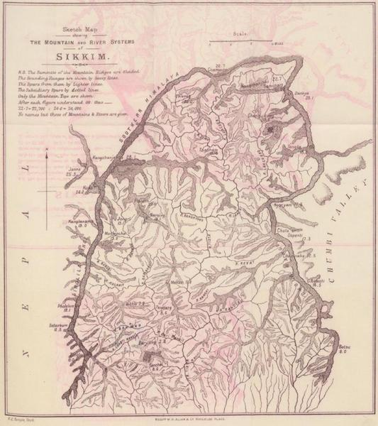 Journals Kept in Hyderabad, Kashmir, Sikkim, and Nepal Vol. 2 - Sketch Map Showing the Mountain and River Systems of Sikkim (1887)