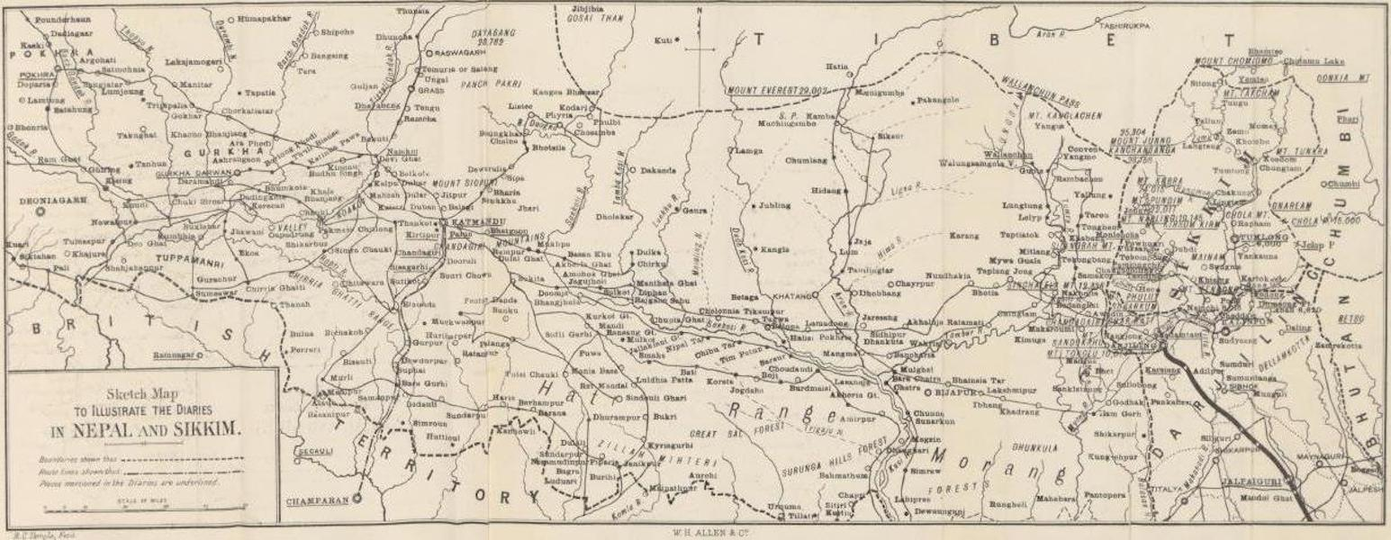 Journals Kept in Hyderabad, Kashmir, Sikkim, and Nepal Vol. 2 - Sketch Map to Illustrate the Diaries in Nepal and Sikkim (1887)