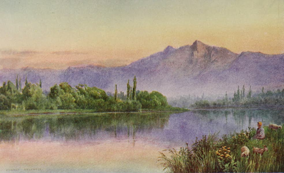 Kashmir, Painted and Described - Sunset on the Jhelum, above Srinagar (1911)