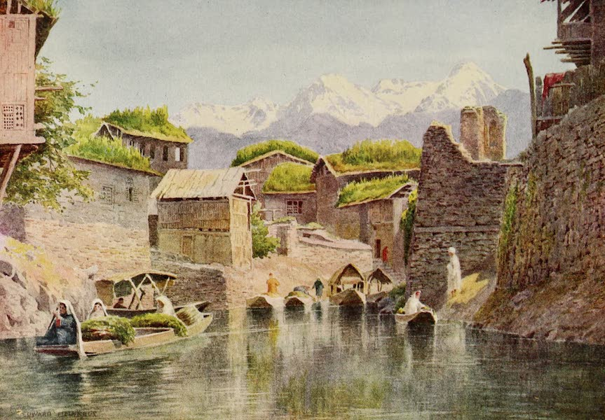 Kashmir, Painted and Described - Market Boats on the Mar Canal, Srinagar (1911)