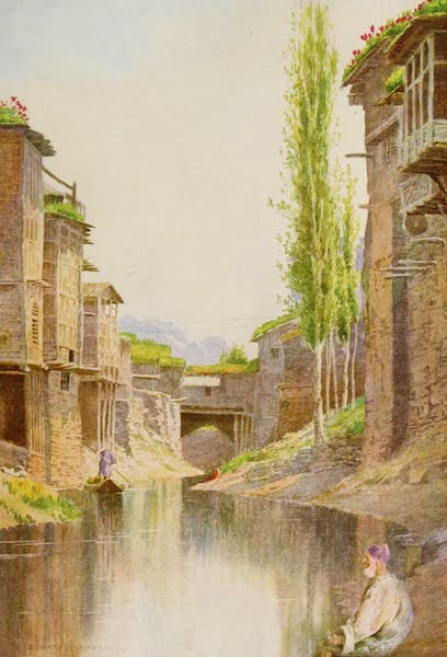 Kashmir, Painted and Described - In the Mar Canal, Srinagar (1911)
