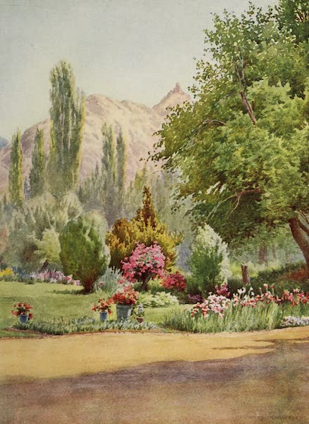 Kashmir, Painted and Described - A Terrace of the Nishat Bagh (1911)
