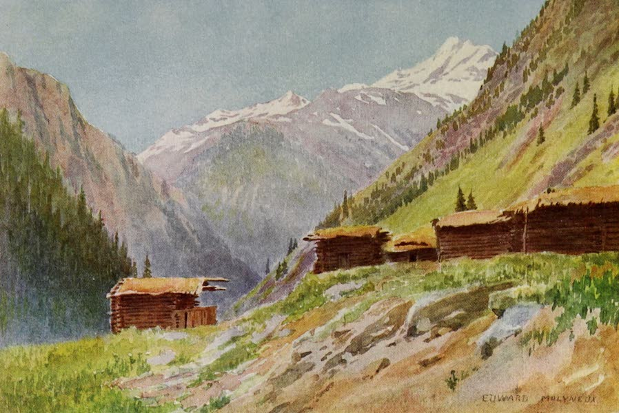 Kashmir, Painted and Described - Looking down the Gurais Valley, from Dudhgai Village (1911)