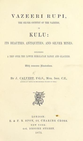 Kulu: It's Beauties, Antiquities and Silver Mines - Title Page (1873)