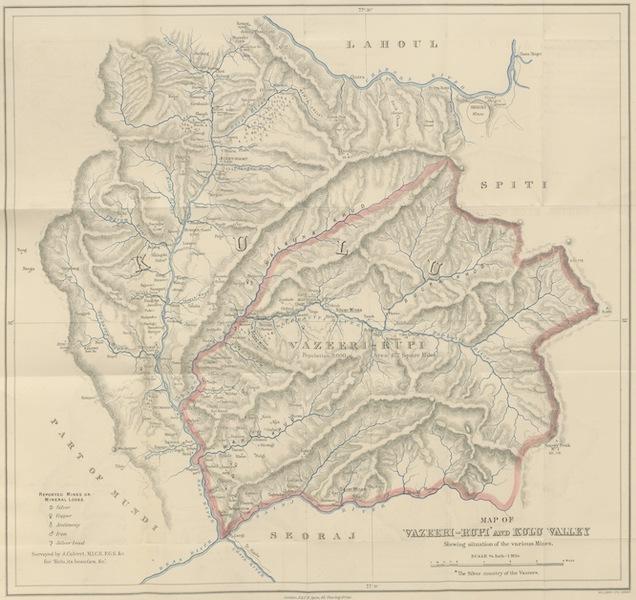 Kulu: It's Beauties, Antiquities and Silver Mines - Map of Vazeeri Rupi and Kulu Valley (1873)