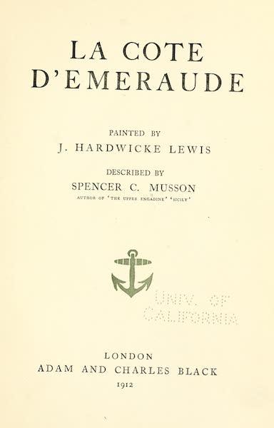 La Côte d'Émeraude, Painted and Described - Title Page (1912)
