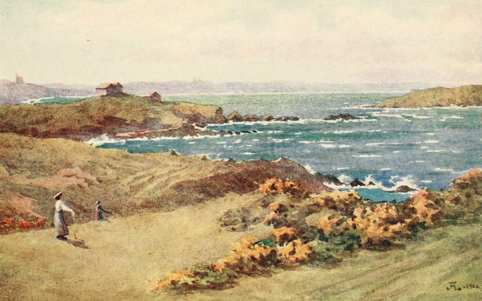La Côte d'Émeraude, Painted and Described - The Golf Links between St. Lunaire and St. Briac. St. Cast in the Distance (1912)