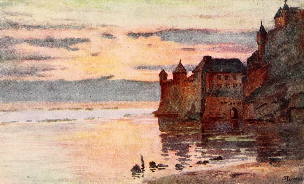 La Côte d'Émeraude, Painted and Described - Gendarmerie, Tour Gabriel, and River Coesnon, Mont St. Michel (1912)