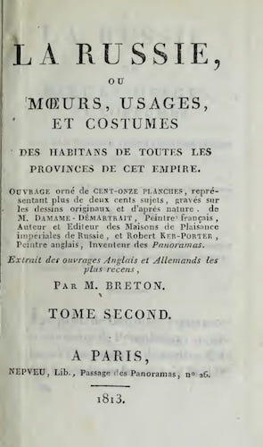 Aquatint & Lithography - La Russie, ou, Moeurs, Usages, et Costume Vol. 2