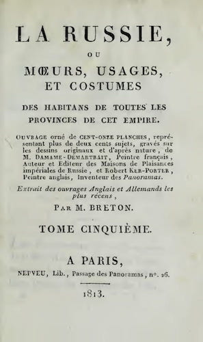 Aquatint & Lithography - La Russie, ou, Moeurs, Usages, et Costume Vol. 5