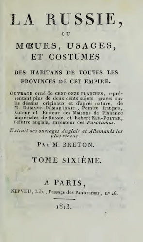 Aquatint & Lithography - La Russie, ou, Moeurs, Usages, et Costume Vol. 6