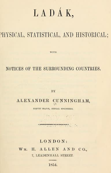 Ladak, Physical, Statistical, and Historical - Title Page (1854)