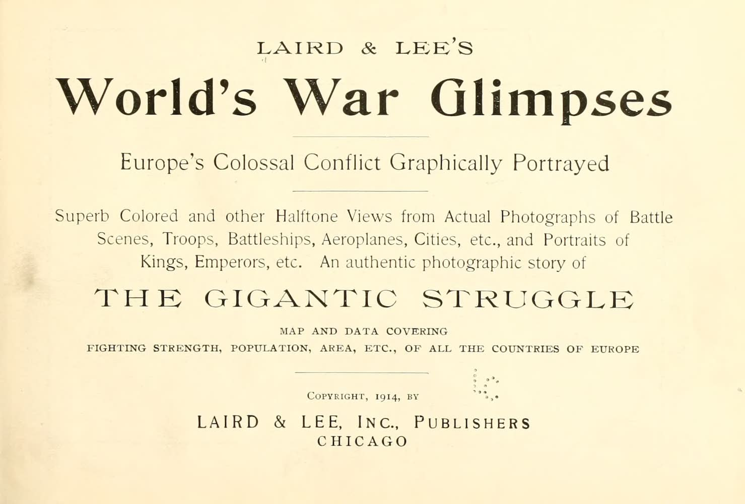 Laird & Lee's World's War Glimpses - Title Page (1914)