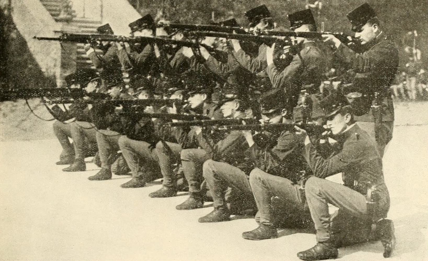 Laird & Lee's World's War Glimpses - Infantrymen of Austrian Cadet Corps Ready to Repulse Cavalry Attack (1914)