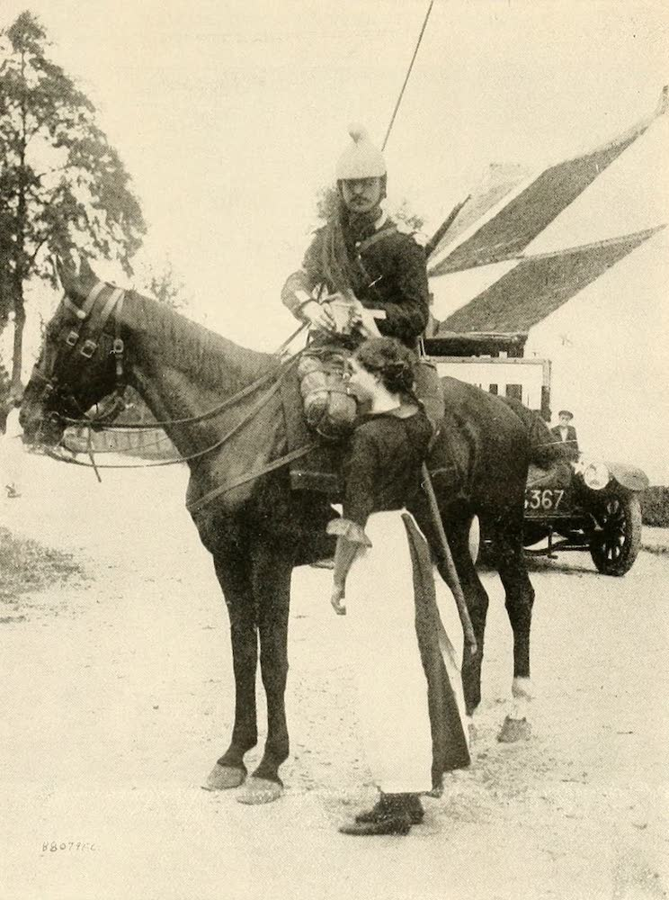 Laird & Lee's World's War Glimpses - French Lancer Receiving Much Needed Water From a Belgian Girl (1914)