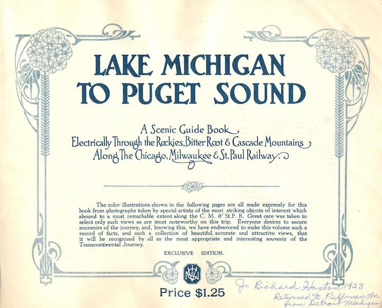 Lake Michigan to Puget Sound - Title Page (1923)