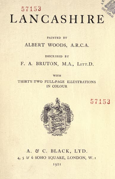 Lancashire Painted and Described - Title Page (1921)