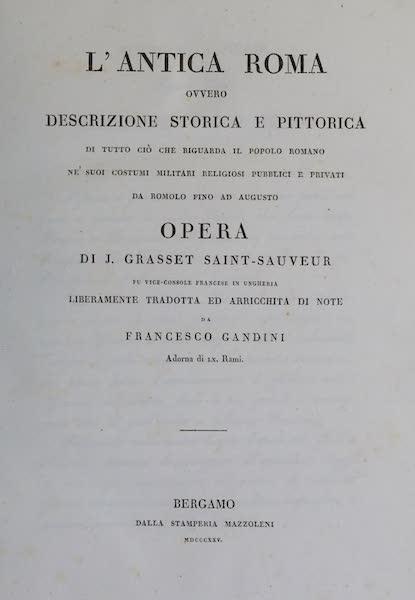 L'antica Roma, Ovvero, Descrizione Storica e Pittorica - Title Page (1825)