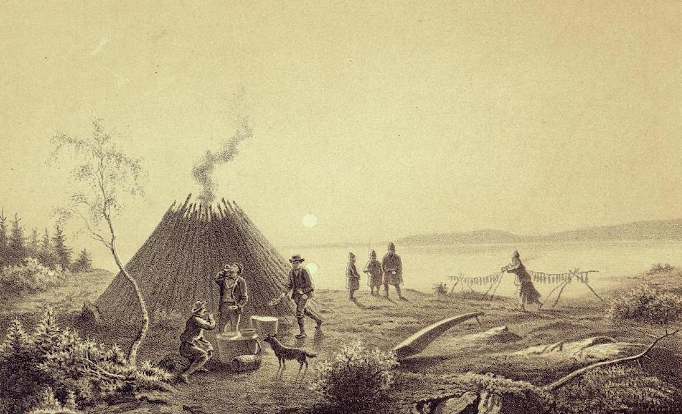 Lappland, dess natur och folk - Midnattssolen vid Stora Lulejaur Maltid hos fiskarelappen Abmut Merak (1871)