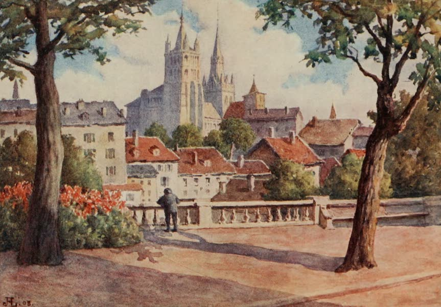 Lausanne, Painted and Described - Lausanne Cathedral from Montbenon (1909)