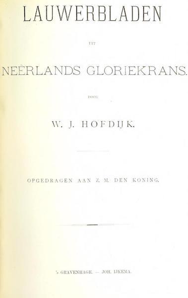 Lauwerbladen uit Neerlands Gloriekrans - Title Page - Volume 2 (1875)