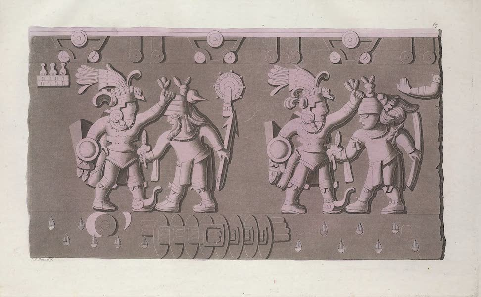 Bas-relief Azteque representant d'anciens guerriers