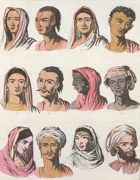 Le Costume Ancien et Moderne [Asie] Vol. 2 - Differens traits qui caracterisent la physionomie des Indiens (1817)