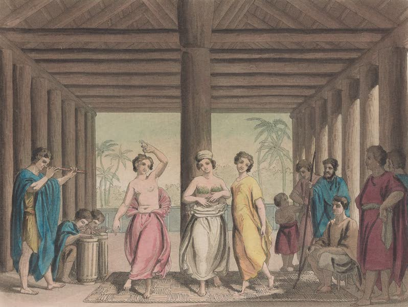 Le Costume Ancien et Moderne [Asie] Vol. 4 - Interieur d'une maison d'Ulietea, ou est figuree une danse a la mode du pays (1818)