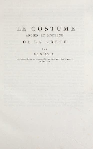 Le Costume Ancien et Moderne [Europe] Vol. 1, Pt. 1 - Title Page - Le Costume de la Grece (1817)