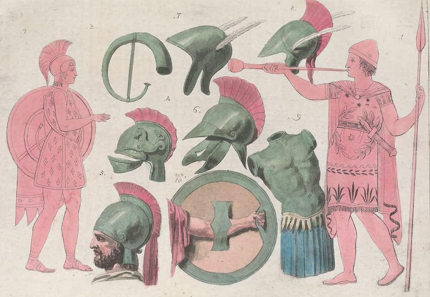 Le Costume Ancien et Moderne [Europe] Vol. 1, Pt. 1 - XL. Guerriers avec trompettes, casques, cuirasses etc.  (1817)