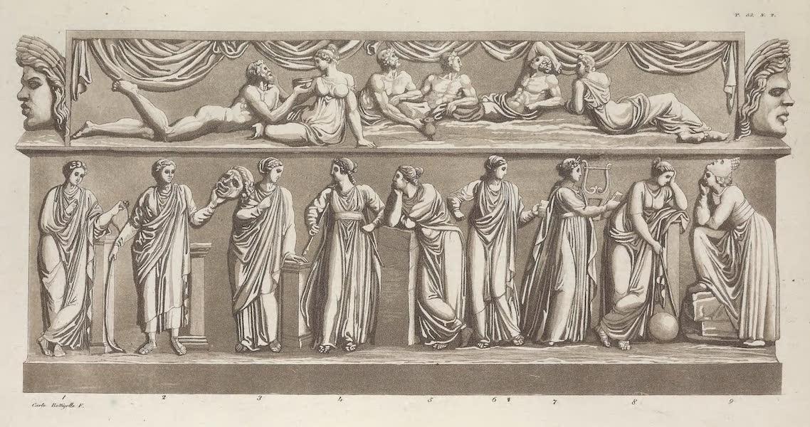 Le Costume Ancien et Moderne [Europe] Vol. 1, Pt. 1 - LIIII. No. 2. Sarcophage du Capitale representant les neuf Muses (1817)
