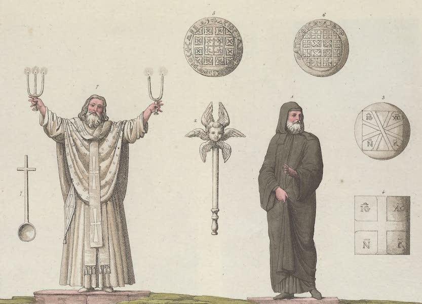 Le Costume Ancien et Moderne [Europe] Vol. 1, Pt. 1 - LXXXVIII. Figure du pain dont les Grecs Cophtes font usage dans l'Eucharistie. Eventail. Labis. Eveque en habits pontificaux etc. (1817)