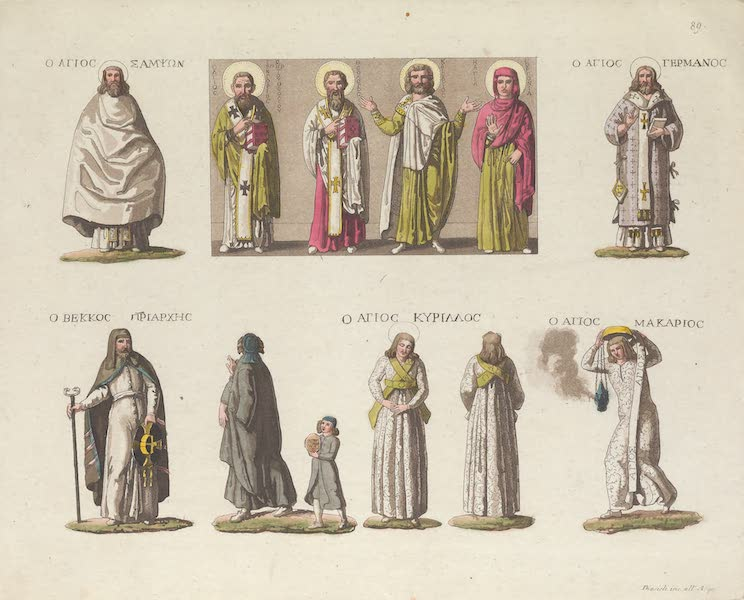 Le Costume Ancien et Moderne [Europe] Vol. 1, Pt. 1 - LXXXIX. Pontife avec un sac, Eveques. Pontifee n Dalmatique : Papas : Diacre (1817)