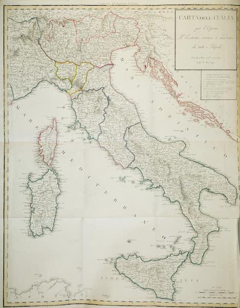 Le Costume Ancien et Moderne [Europe] Vol. 2 - I. N° 2. Carte geograpghique de l'Italie [by Fratelli Bordiga] (1820)