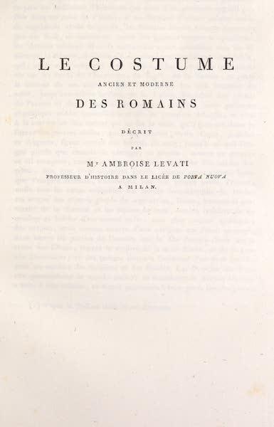 Le Costume Ancien et Moderne [Europe] Vol. 2 - Title Page - Les Costumes de Romains (1820)