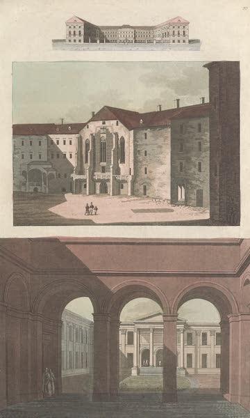 Le Costume Ancien et Moderne [Europe] Vol. 4 - XCIX. Nouveaux bains a Vienne. Facade del'universite de Neustadt et de l'Academie Josephine (1824)