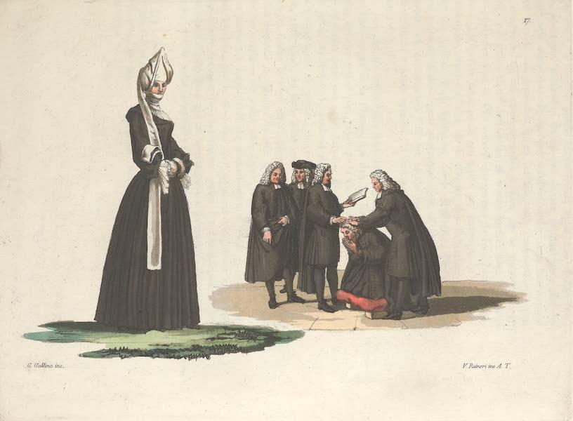 Le Costume Ancien et Moderne [Europe] Vol. 4 - XVII. Ministres Calvinistes, et deuil dune femme de Zurich (1824)