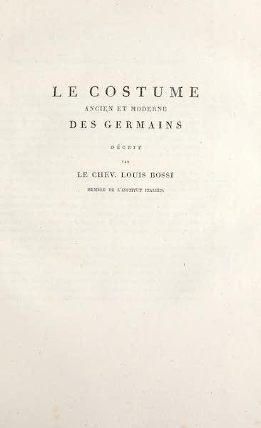 Le Costume Ancien et Moderne [Europe] Vol. 4 - Title Page - Le Costume des Germains (1824)