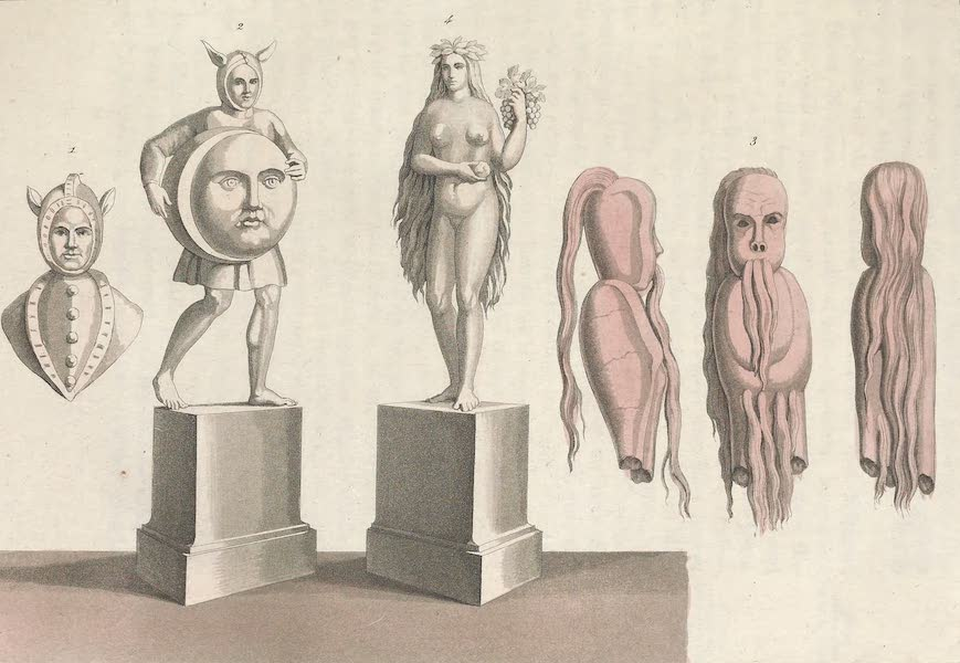 Le Costume Ancien et Moderne [Europe] Vol. 4 - XXXIII. Representations du dieu Lunus, Alrunes ou Alirunes, devineresses. Image de la deesse Siwa (1824)