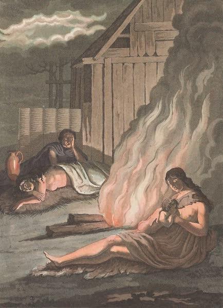 Le Costume Ancien et Moderne [Europe] Vol. 4 - XLII. Germains assis et dormans autour du foyer (1824)